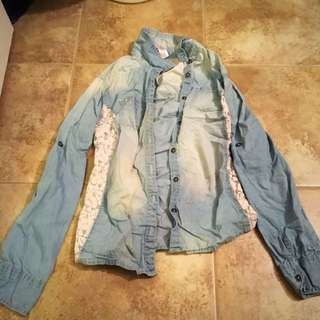 Bedazzled Lace Denim Shirt Justice Size 14