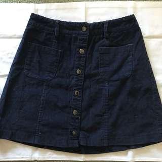 High Waisted Paper Heart Navy Corduroy Skirt Size 8
