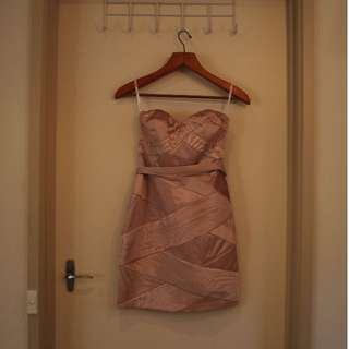 Honey & Beau Strapless Bronze Dress