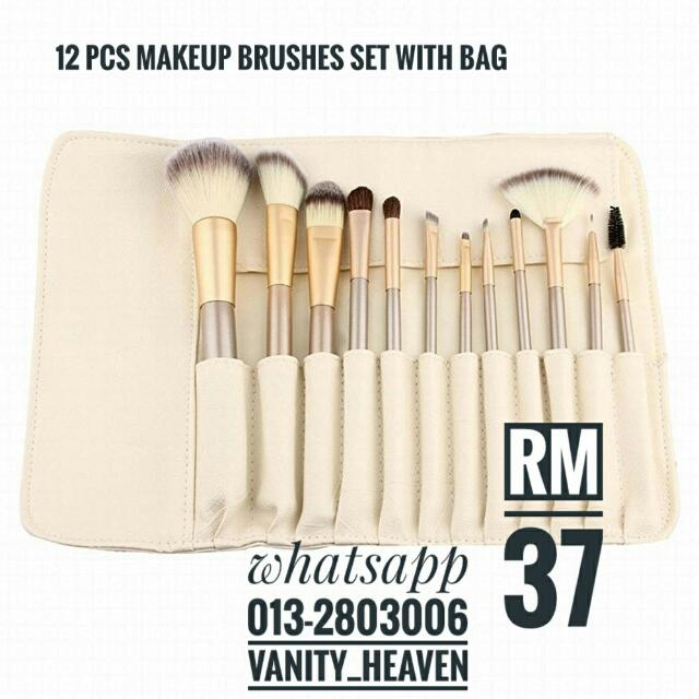 12 Pcs Makeup Brush Set With Bag