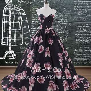 Black Floral Print Silk Satin Evening Ball Gown - Sweetheart Neckline Prom Dress Made to Measure - AM012