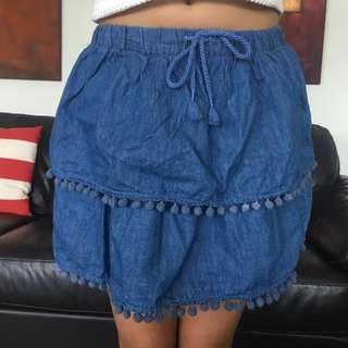 Pumpkin Patch Pom Pom Trim Skirt