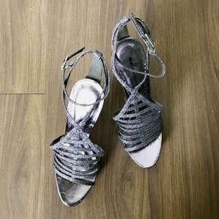 REPRICED Gibi Metallic Grey Strappy Shoes