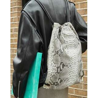 Real Python Drawstring Backpack in Natural color