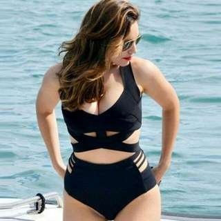 Plus Size Black Halter Two Piece Swimsuit