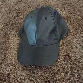 Faux Leather Black Cap