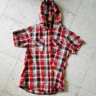 Red Check Top With Hoodie