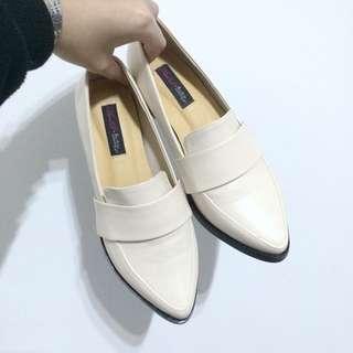 Ann'S 韓系粗跟紳士休閒便鞋(復古米)