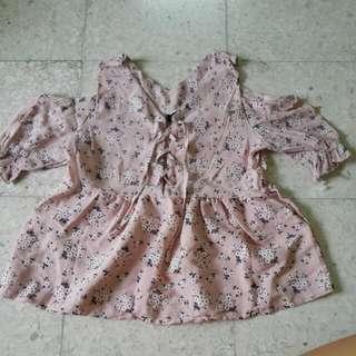 BN Pink Floral Bare Shoulder Top