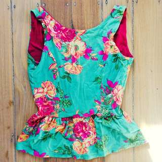 Sleevless Floral Peplum Backless Top from MODCLOTH