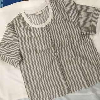 Crop Striped Shirt by Petite Cupcake
