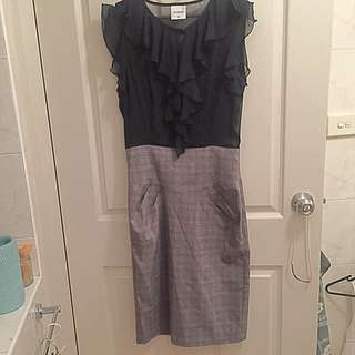 7th Vision Pencil Dress With Chiffon Blouse Size 10
