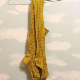 芥末黃溫暖褲襪