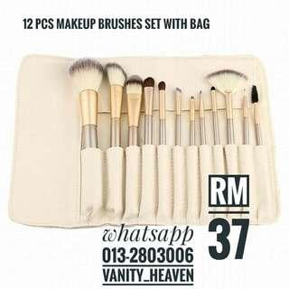 12 Pcs Makeup Brush Set With Bag
