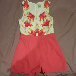 Pink And Floral Romper