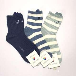 韓國帶回立體喵喵條紋中統襪 短襪