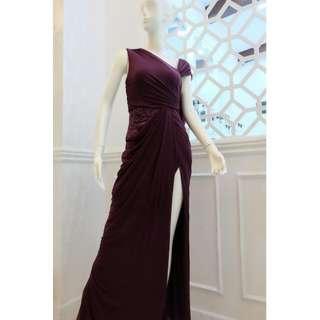 Plum Draped Evening Gown