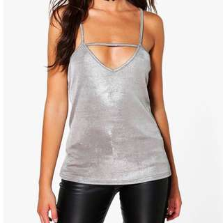 Women's New Strappy Silver Metallic Cami Evening Top