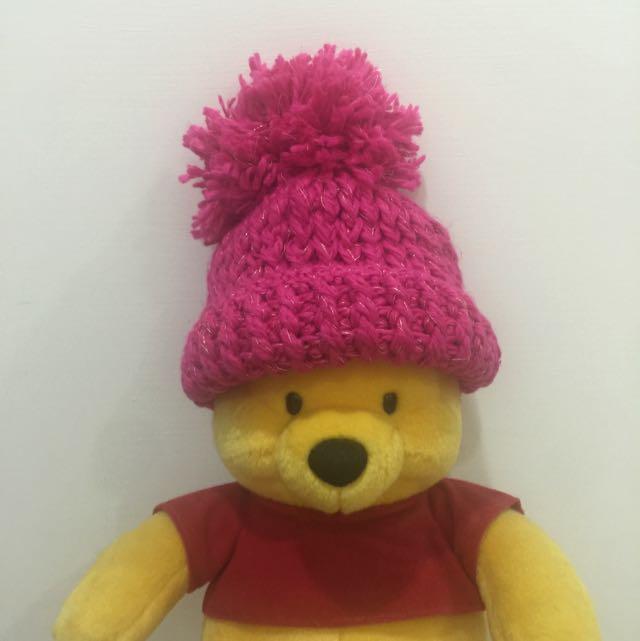 (全新)桃紅金蔥毛帽