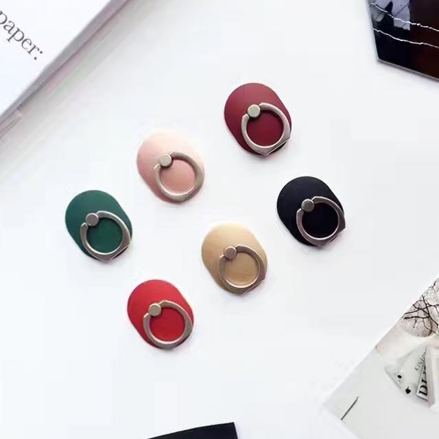楊冪同款素色時尚質感金屬漆簡約指環支架