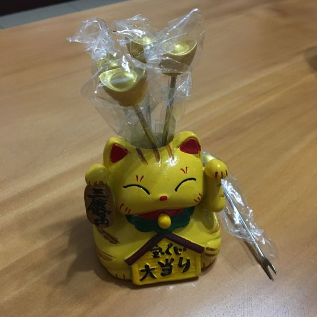 開運元寶招財貓水果叉(五支元寶叉)