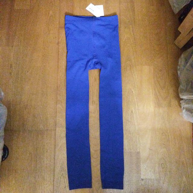 全新寶藍色刷毛內搭褲