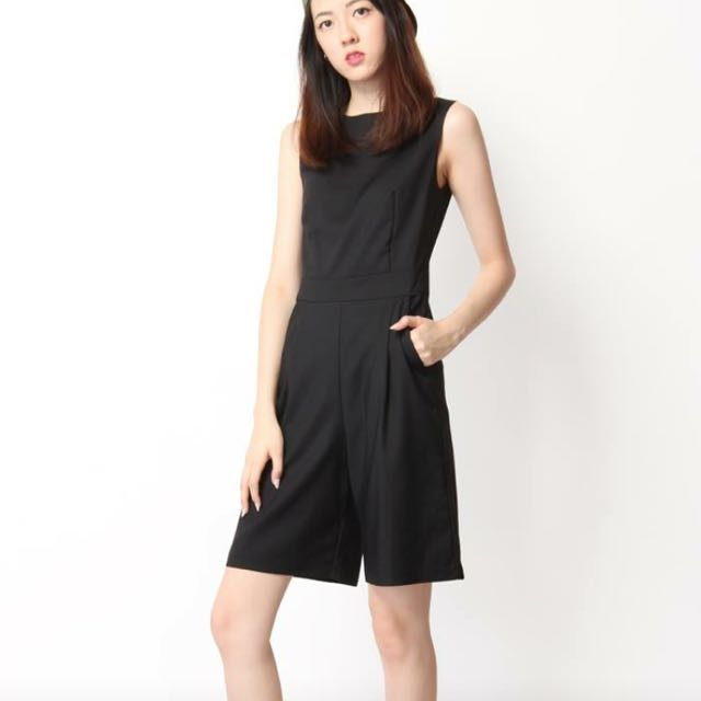 55624d4fc21 Aforarcade Harrison Long Line Romper In Black