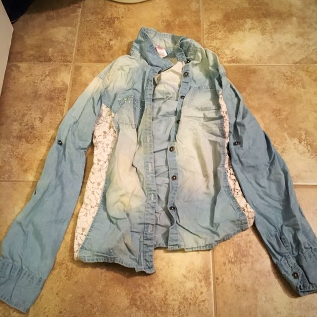 Bedazzled Lace Denim Shirt Justice Size 14