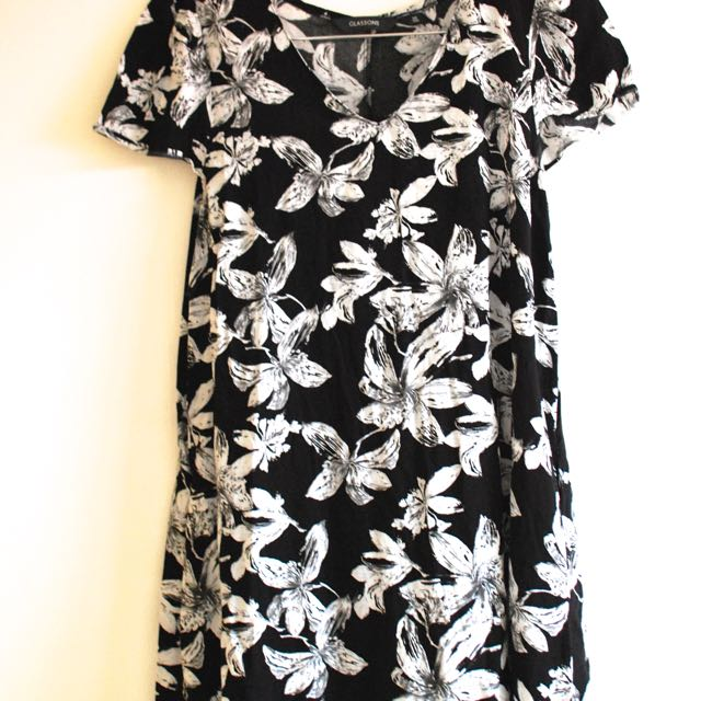 Black And White Floral Sun Dress