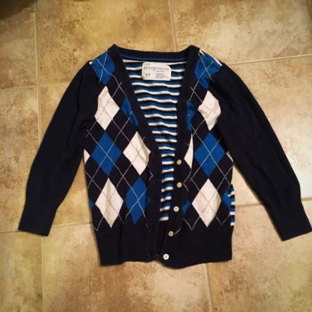 Blue Striped Plaid Aeropostale Cardigan Size Small