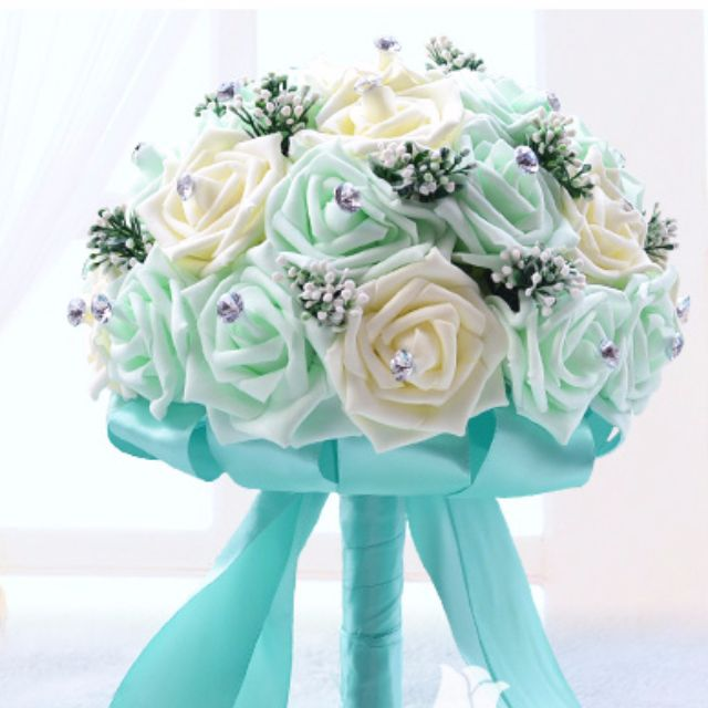 Brand New* Wedding Bride Beige/Champagne/Tiffany Blue Roses Flower ...