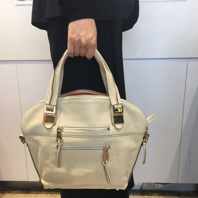 Chloe 克羅伊 牛皮 米色 義大利製 金扣 手提包 肩背包 側背包 波士頓包 水餃包