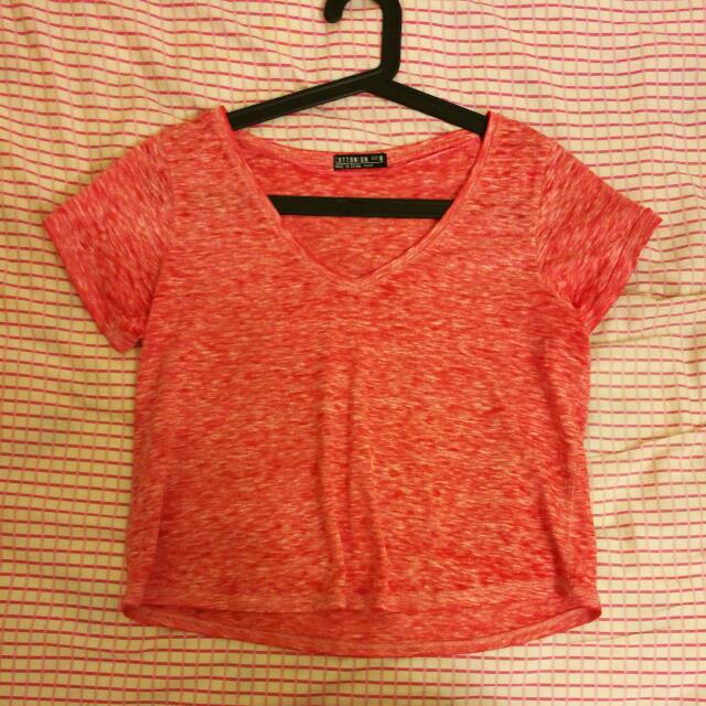 Cotton On Crop Shirt (Orangy Pink) Size M