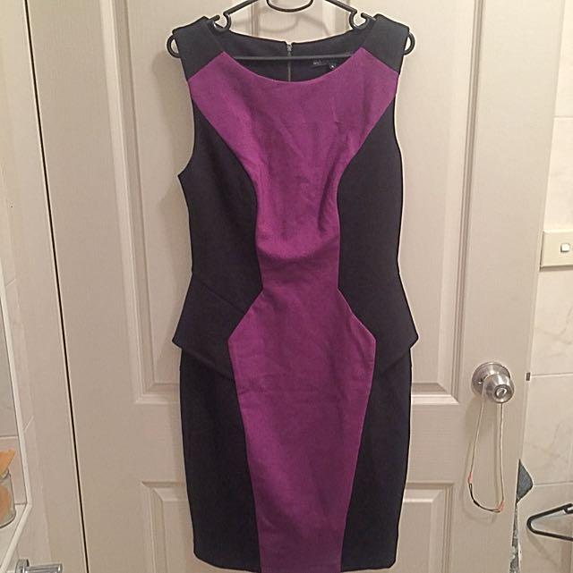 Cue Plum And Black Pencil Peplum Dress