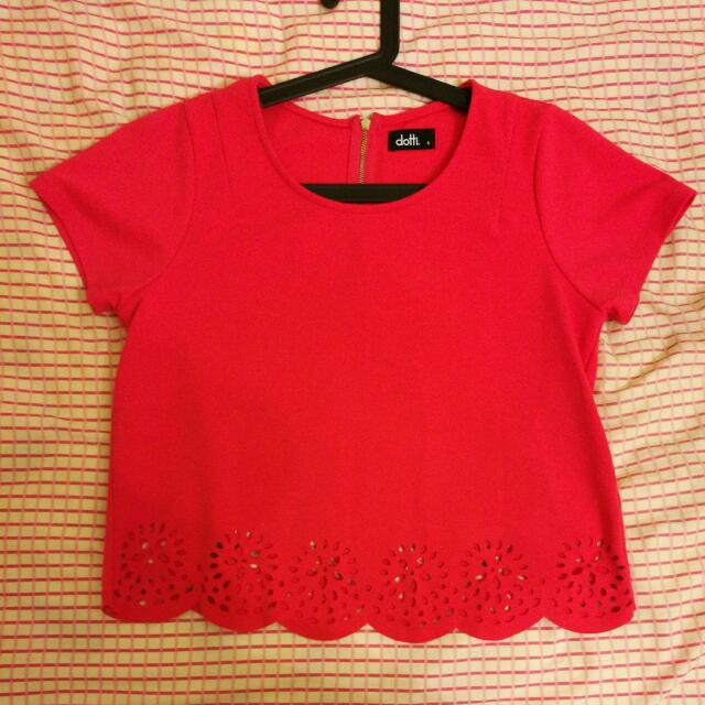 Dotti Crop T-shirt (Hot Pink) Size S