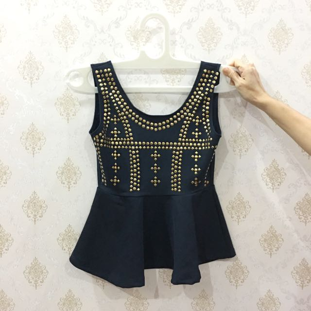 Gold Button Peplum Top In Navy