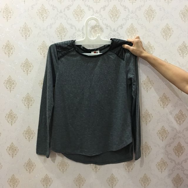 Grey Long Sleeve With Leather Patch