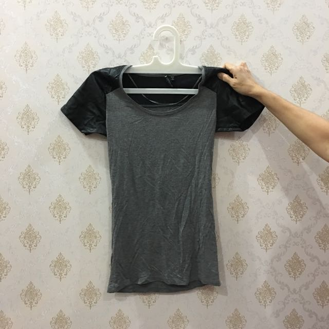 Grey T Shirt With Leather Sleeve