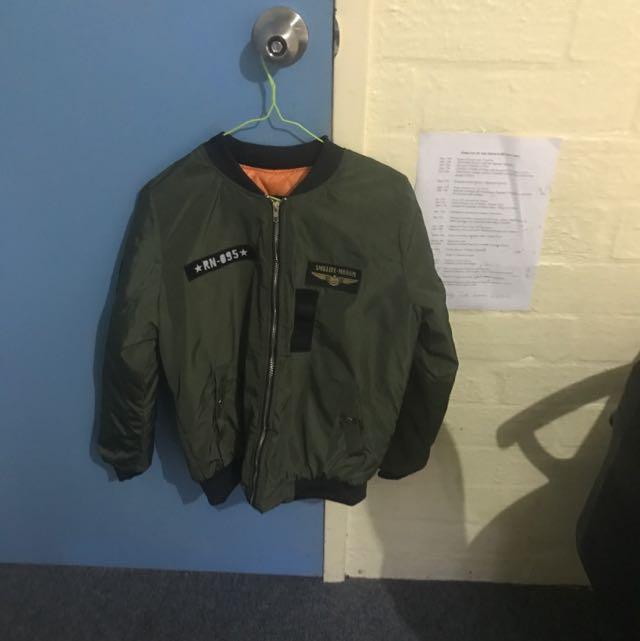 Hipster Khaki Bomber Jacket