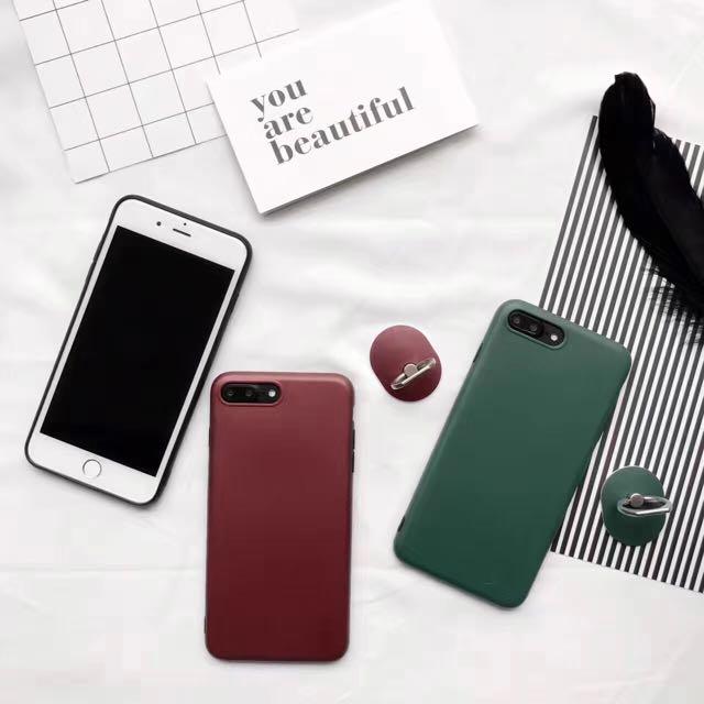 楊冪同款素色時尚質感金屬漆簡約指環支架黑邊全包手機殼iPhone手機殼iphone7/iphone6/plus