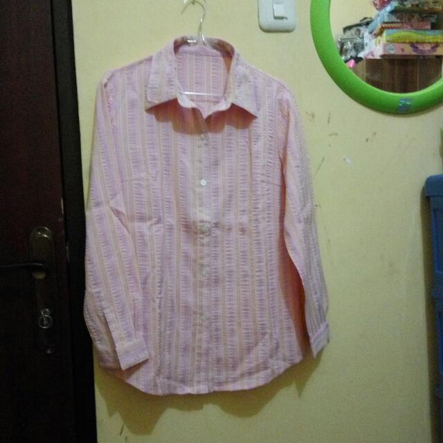 Kemeja Pink Garis Size M