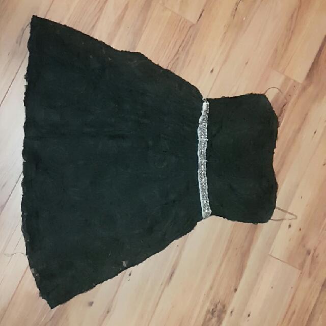 Lacy Black Strapless Dress