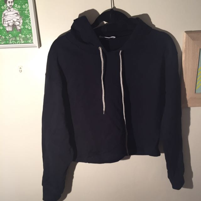 Mango Casual Navy Cropped Hoodie