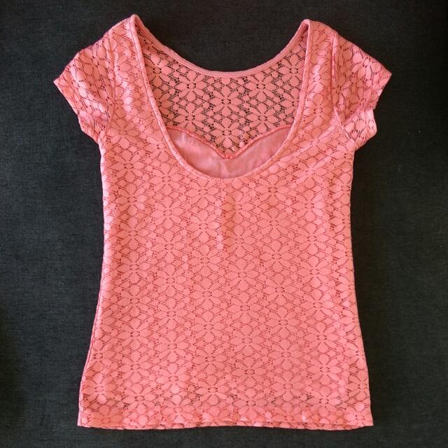 Miss Selfridge Peach Floral Lace Low Back Short Sleeve Top Size 4