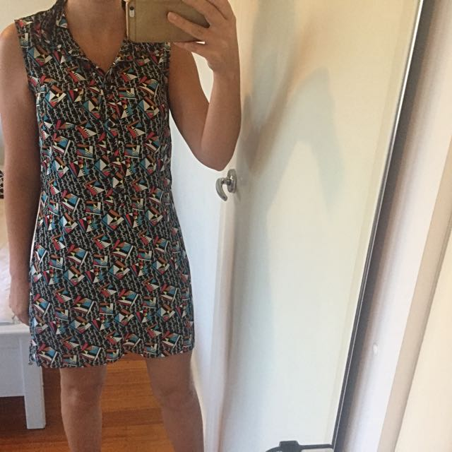 Multi Sleeveless Dress Size 38 Fits S/m Brand Is affinity - Eu