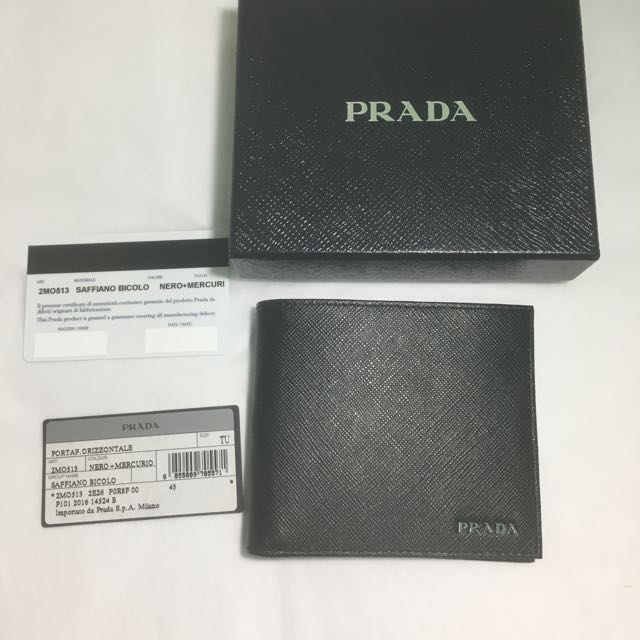 4d90247b575198 New Prada Saffiano Leather Bi-Colour Bifold men Wallet 2MO513, Luxury, Bags  & Wallets on Carousell