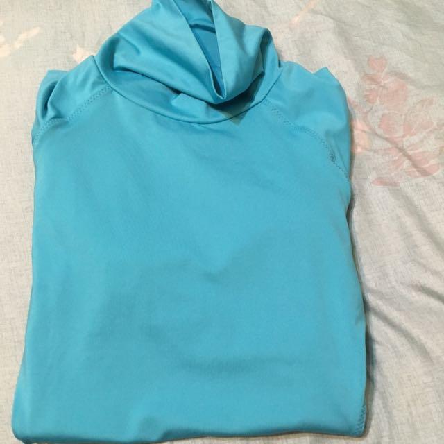 Nike水藍色高領運動上衣