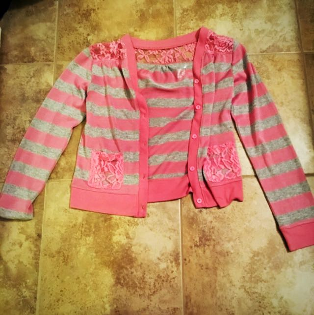 Pink And Gray Lace Cardigan Size 12/14 Kids