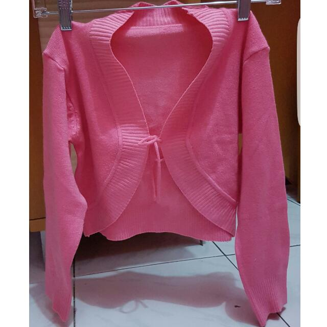 Preloved Bolero Cropped Cardigan In Pink