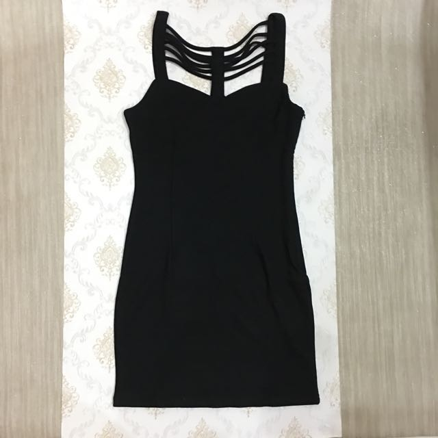 Strings Black Dress